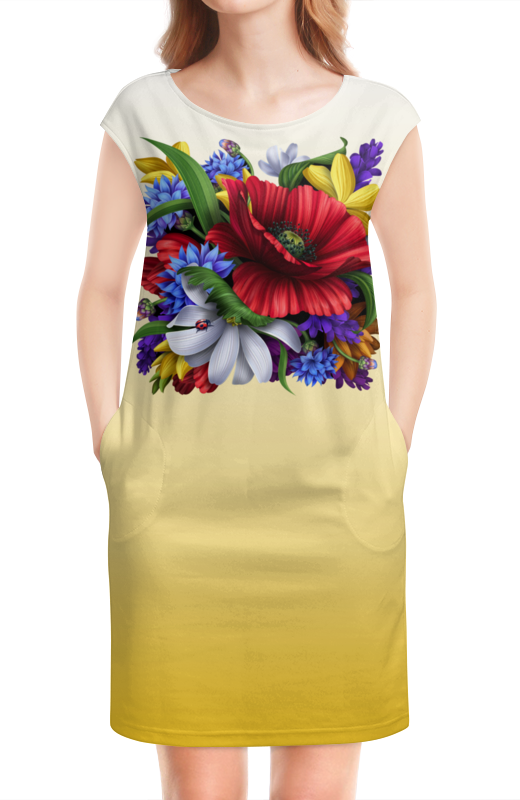 Платье без рукавов Printio Цветы куртка голубого цвета brums ут 00008775