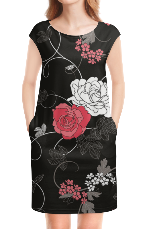 Платье без рукавов Printio Красная и белая розы