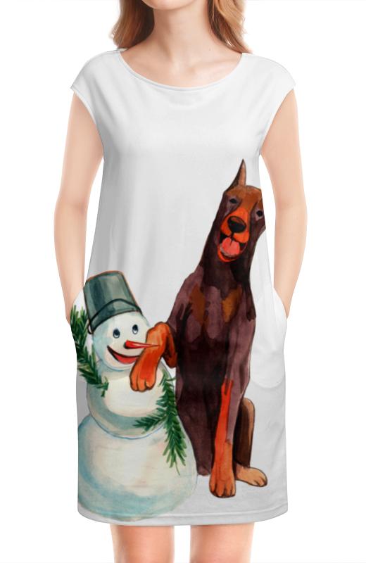 Платье без рукавов Printio Забавная акварельная собака, символ 2018 года