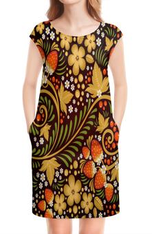 """Платье без рукавов """"Ягоды"""" - цветы, узор, лес, ягоды, клубника"""