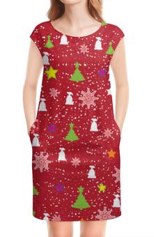 "Платье без рукавов ""Happy New Year (Счастливый Новый Год)"" - happy new year, подарок, дед мороз, елка, merry cristmas"