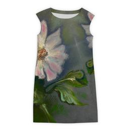 """Платье без рукавов """"Георгин"""" - цветы, листья, осень, серое, георгин"""