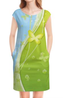 """Платье без рукавов """"Летний мотив"""" - бабочки, лето, небо, трава, мыльные пузыри"""