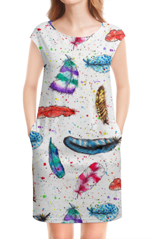 """Платье без рукавов """"Перья"""" - рисунок, пятна, птицы, синий, перья"""