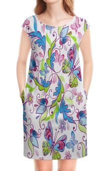 """Платье без рукавов """"Цветы и бабочки"""" - бабочки, цветы, узор, листья, весна"""
