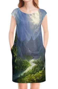 """Платье без рукавов """"Пейзаж красками"""" - природа, лес, река, пейзаж, горы"""