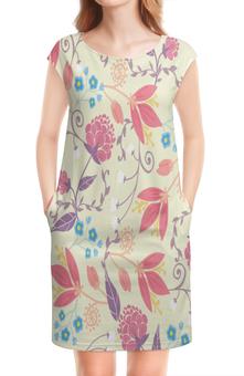 """Платье без рукавов """"Весенние цветочки"""" - цветы, узор, листья, весна, цветочки"""