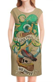 """Платье без рукавов """"Осьминог"""" - old school, пират, якорь, татуировка, череп"""