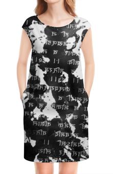 """Платье без рукавов """"Письмена (Буддизм)"""" - философия, религия, духовность, текст, буквы"""