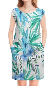 """Платье без рукавов """"Синие цветы"""" - цветы, лес, природа, букет, листья"""