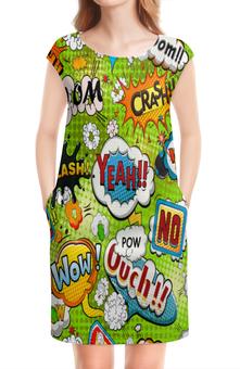 """Платье без рукавов """"Поп Арт"""" - поп арт, pop art, надписи, bang, boom"""