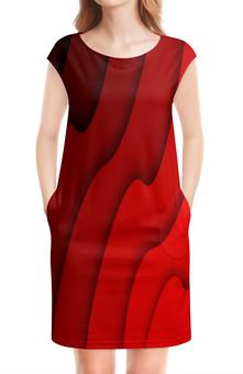 """Платье без рукавов """"Красные волны"""" - красный, полосы, волны, текстура, линии"""