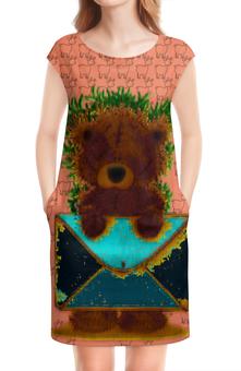 """Платье без рукавов """"Мишка - почтальон"""" - медведь, лес, письмо, почта, конверт"""