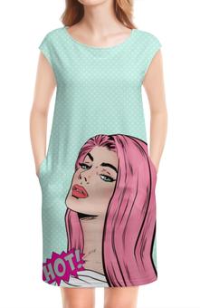 """Платье без рукавов """"Поп арт НОТ"""" - девушка, меган фокс, попарт, бирюза, розовые волосы"""