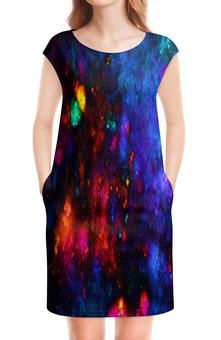 """Платье без рукавов """"Яркие пятна"""" - космос, пятна, синий, краски, цветные"""