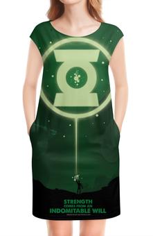 """Платье без рукавов """"Green Lantern / Зеленый Фонарь"""" - зеленый фонарь, green lantern, dc comic, лига справедливости"""