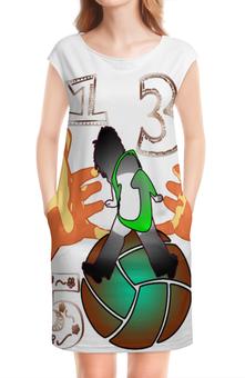 """Платье без рукавов """"Мячик 135."""" - девушка, руки, мяч, цифры, ладони"""