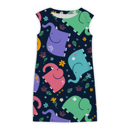 """Платье без рукавов """"Слоники"""" - животные, рисунок, стильный, красочный, слоны"""