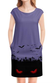 "Платье без рукавов ""Взгляд оттуда"" - хэллоуин, рисунок, взгляд, летучие мыши, кладбище"