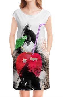 """Платье без рукавов """"Яблочный микс"""" - напиток, абстракция, яблоко, фрукт, натюрморт"""