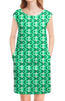 """Платье без рукавов """"Ретро #1"""" - волны, круги, зеленый, светлый, темный"""