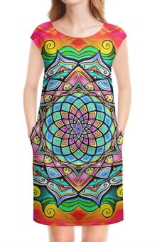 """Платье без рукавов """"Mandala HD2"""" - узор, ретро, классика, этно, симметрия"""