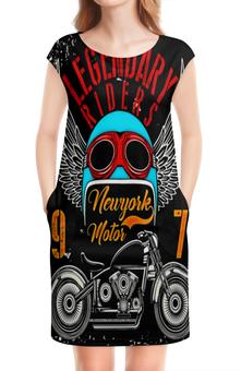 """Платье без рукавов """"Legendary riders"""" - мотоцикл, скорость, гонщик, транспорт, крылья"""