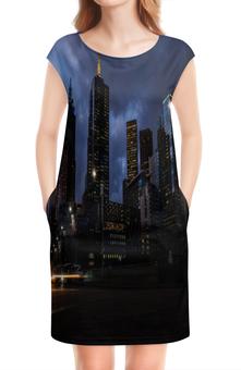 """Платье без рукавов """"Город"""" - город, мегаполис, здания, вечер, огни"""