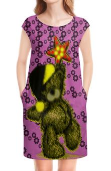 """Платье без рукавов """"Медвежонок и звезда"""" - звезды, медведь, медвежонок, сонный, колпак"""