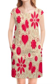 """Платье без рукавов """"Бабочки и цветы"""" - сердце, бабочки, цветы, узор, весна"""