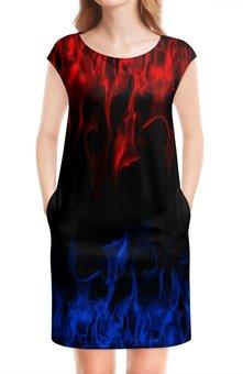 """Платье без рукавов """"Огонь"""" - огненный, пожар, краски, пламя, огонь"""