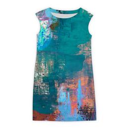 """Платье без рукавов """"Бирюзовая абстракция"""" - абстракция, abstraction, живопись, бирюзовый"""