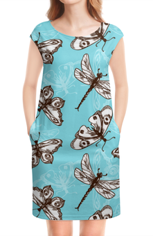 """Платье без рукавов """"Бабочки и стрекозы"""" - стрекоза, бабочка, лето"""