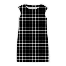"""Платье без рукавов """"Чёрная клетка"""" - оптика, чёрная клетка, иллизия"""
