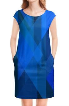 """Платье без рукавов """"Абстрактный синий"""" - графика, синий, краски, абстракция, треугольники"""