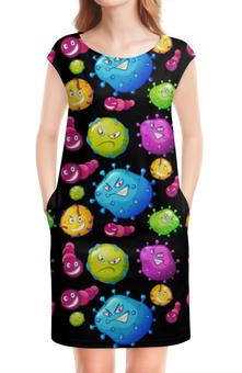 """Платье без рукавов """"Вирус"""" - монстр, вирус, красочный"""