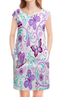 """Платье без рукавов """"Цветные бабочки"""" - бабочки, цветы, узор, весна, природа"""