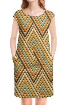 """Платье без рукавов """"Цветные линии"""" - оранжевый, полосы, клетка, квадраты, линии"""
