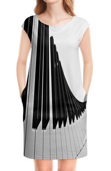 """Платье без рукавов """"Музыка"""" - музыка, клавиши, музыкальные инструменты, ноты, пианино"""