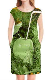 """Платье без рукавов """"Яблочный микс"""" - яблоко, фрукт, абстракция, напиток, натюрморт"""