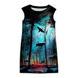 """Платье без рукавов """"Акула леса"""" - лес, акулы, абстракт"""