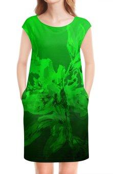 """Платье без рукавов """"Альстромерия. Фантазия"""" - акварелью, фантазийный, зеленый, нежный, цветок"""