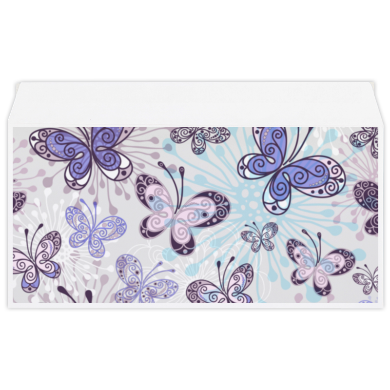 Конверт маленький Евро Е65 Printio Фиолетовые бабочки конверт открытка студия тетя роза бабочки ораз 0029