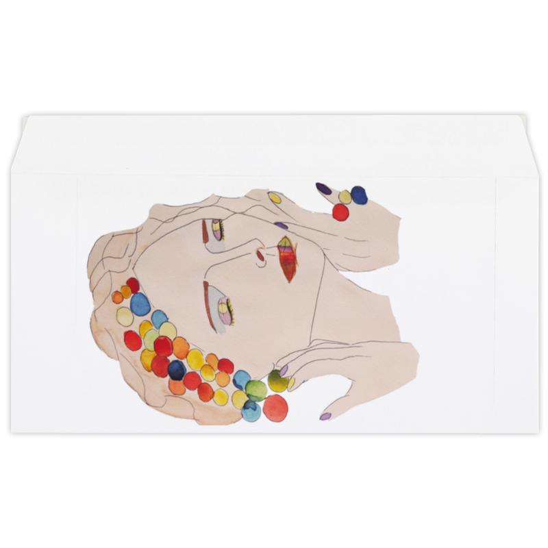 Конверт маленький Евро Е65 Printio Девушка с закрытыми глазами puzzle 1000 девушка с золотыми украшениями 29614