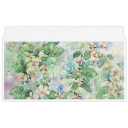 """Конверт маленький """"Евро"""" Е65 """"Жасмин"""" - цветок, белый, зеленый, оригинальный, акварель"""