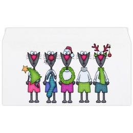 """Конверт маленький """"Евро"""" Е65 """"Новогодние коты"""" - звезда, рога, елка, колпак, носок"""