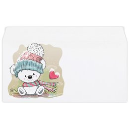 """Конверт маленький """"Евро"""" Е65 """"Медвежонок"""" - юмор, рисунок, зима, медвежонок, мультяшка"""