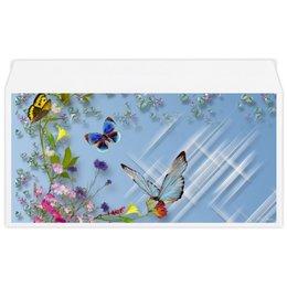 """Конверт маленький """"Евро"""" Е65 """"бабочки"""" - бабочки, стиль, цветочный узор"""