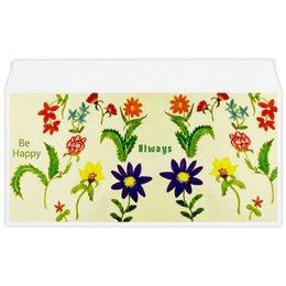 """Конверт маленький """"Евро"""" Е65 """"Цветы тропиков"""" - лето, цветы, листья, ярко, тропики"""