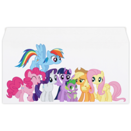 "Конверт маленький ""Евро"" Е65 ""My Little Pony - Mane Six"" - rainbow dash, mlp, applejack, rarity, fluttershy, twilight sparkle, pinkie pie"